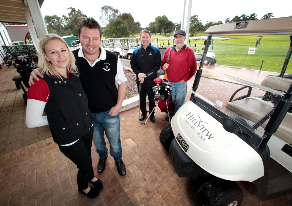 Samantha and Darren Fox of Thornlie, Stuart Henderson (Hillview Golf Course Pro Shop Manager) and Wayne Faulkner (Sands WA). Picture: David Baylis