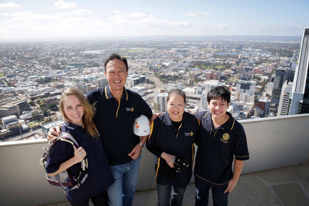Michele Roget (Floreat), David Wee (Perth), Beatrice Cervie (Mt Hawthorn) and Jacques Phillips, all Rotary Club of Perth members who are abseiling down Central Park.
