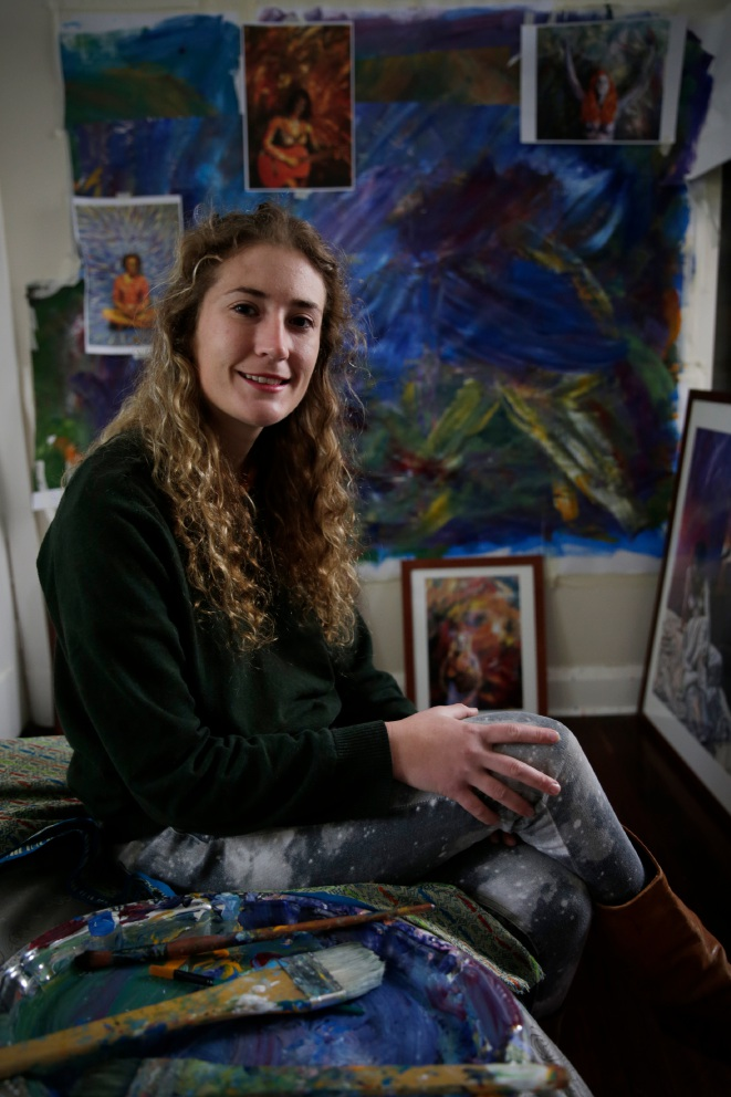 Lora Folan with work for her art exhibition, which opens tonight. Picture: Andrew Ritchie