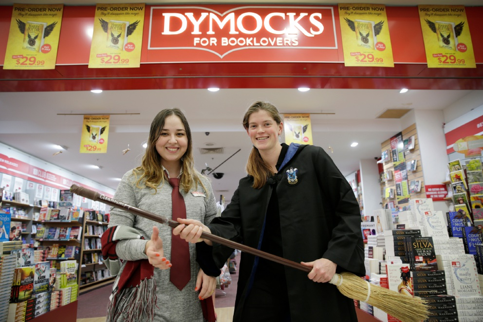 Amee Heptinstall and Siobhan Bejr from Morley Dymocks get ready for the release of Harry Potter and the Cursed Child this Sunday. Picture: Andrew Ritchie