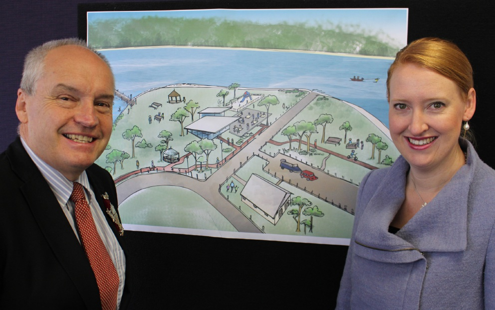 Melville Mayor Russell Aubrey and Disability Services Minister Donna Faragher with plans for the new specialised bathroom facility at Deep Water Point.