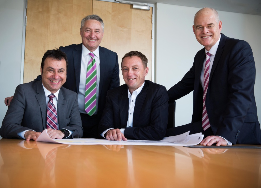 LandCorp chief executive Frank Marra, Lendlease WA communities general manager Anthony Rowbottam, Lendlease communities managing director Matt Wallace and LandCorp chief operating officer Dean Mudford.