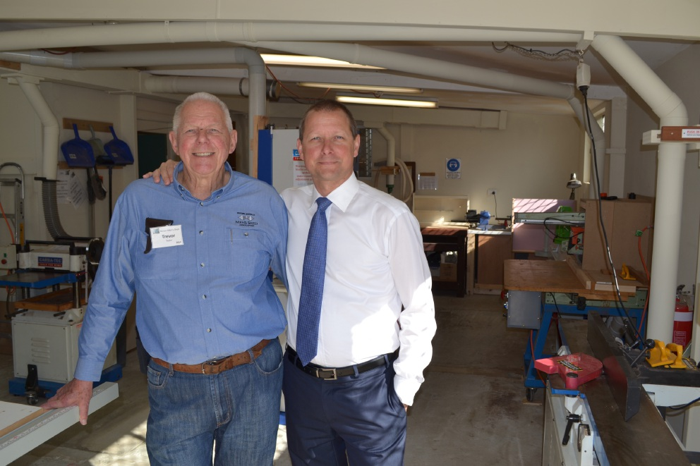 Men's Shed vice-president Trevor Taylor with son and Bateman MLA Matt Taylor.
