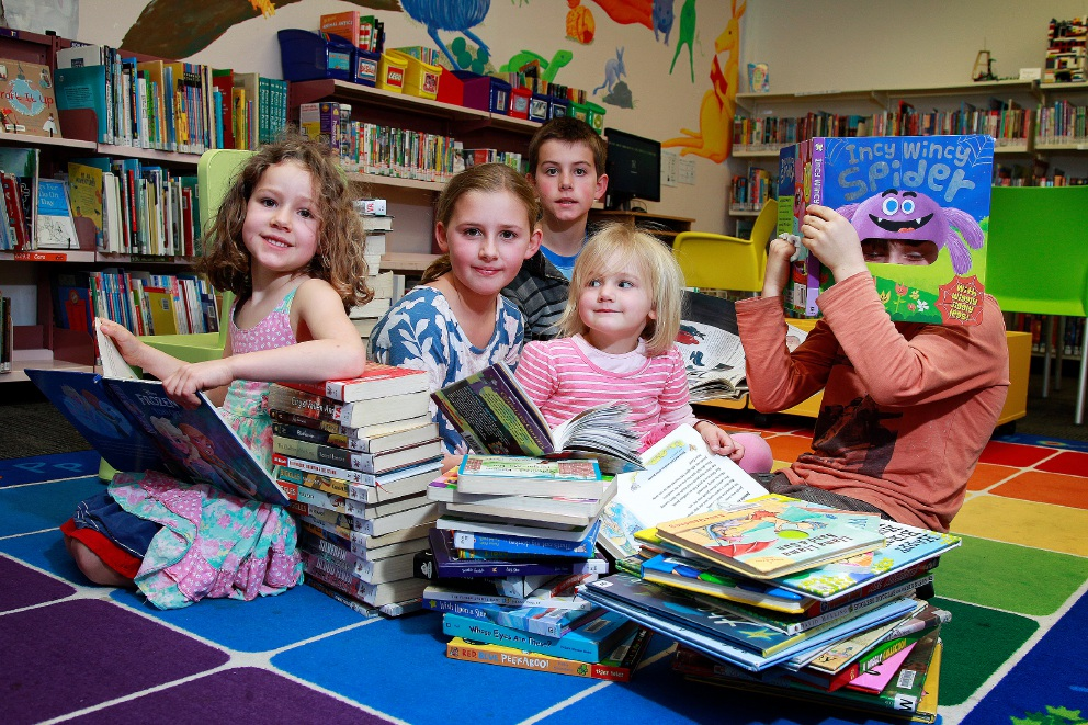 Excited about the upcoming Reading Olympics at Mundijong Library are siblings Jasmine (4), Amber (10), Portia (2), Tristan (11, back) and Lachlan (8) Fleming. Picture: Marie Nirme