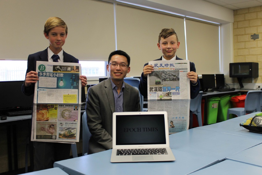 Frank Zhao with students Cambel Bowyer  and |Samuel Hennessey.