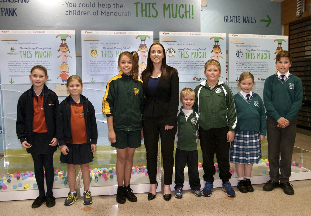 Mandurah Forum manager Jacqueline McKenzie with students from each of the |participating schools.