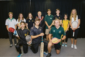 Melville Mayor Russell Aubrey with the 2015 Youth Sports Scholarship Scheme recipients.