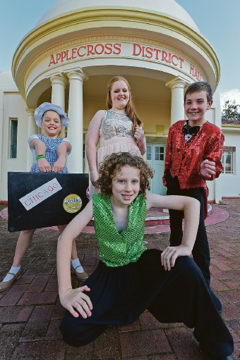 Chelsea Clegg, Mia Frazer, Corban Featon and Alec Bowker (in green). Picture: Jon Hewson