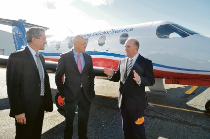 Regional Development Minister Terry Redman, RFDS chief executive Grahame Marshall and Health Minister John Day. Picture: Bryce Luff
