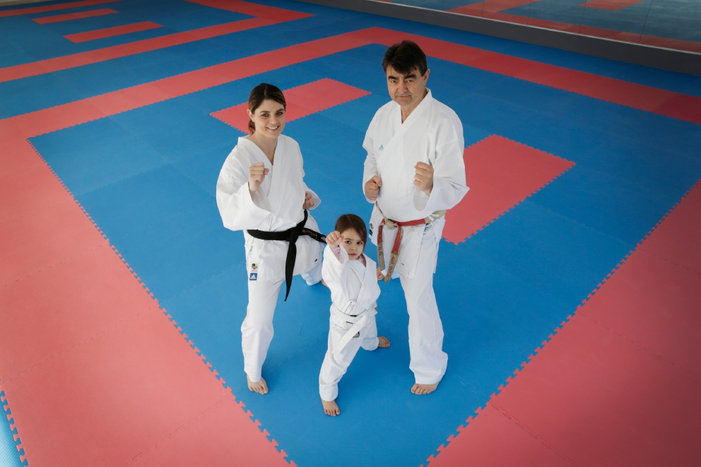 Jessica Bratich-Johnson with daughter Rubika Johnson (3) and Branco Bratich. The Bratich family are opening a new karate school, Yoseikan-Ryu Karate, in Malaga. Picture: Andrew Ritchie