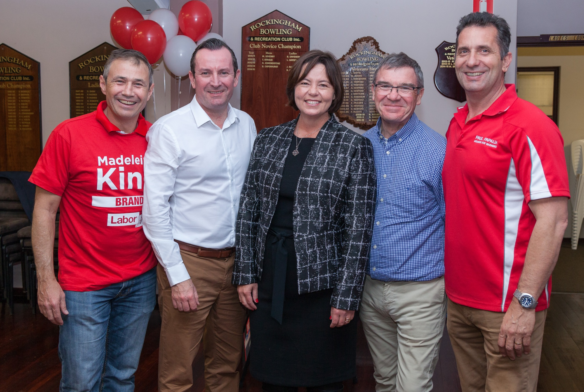 WA Member for Kwinana Roger Cook, State Opposition Leader Mark McGowan, newly elected Labor representative for Brand Madeleine King, retired MP Gary Gray and WA Member for Warnbro Paul Papalia celebrate Saturday's result.