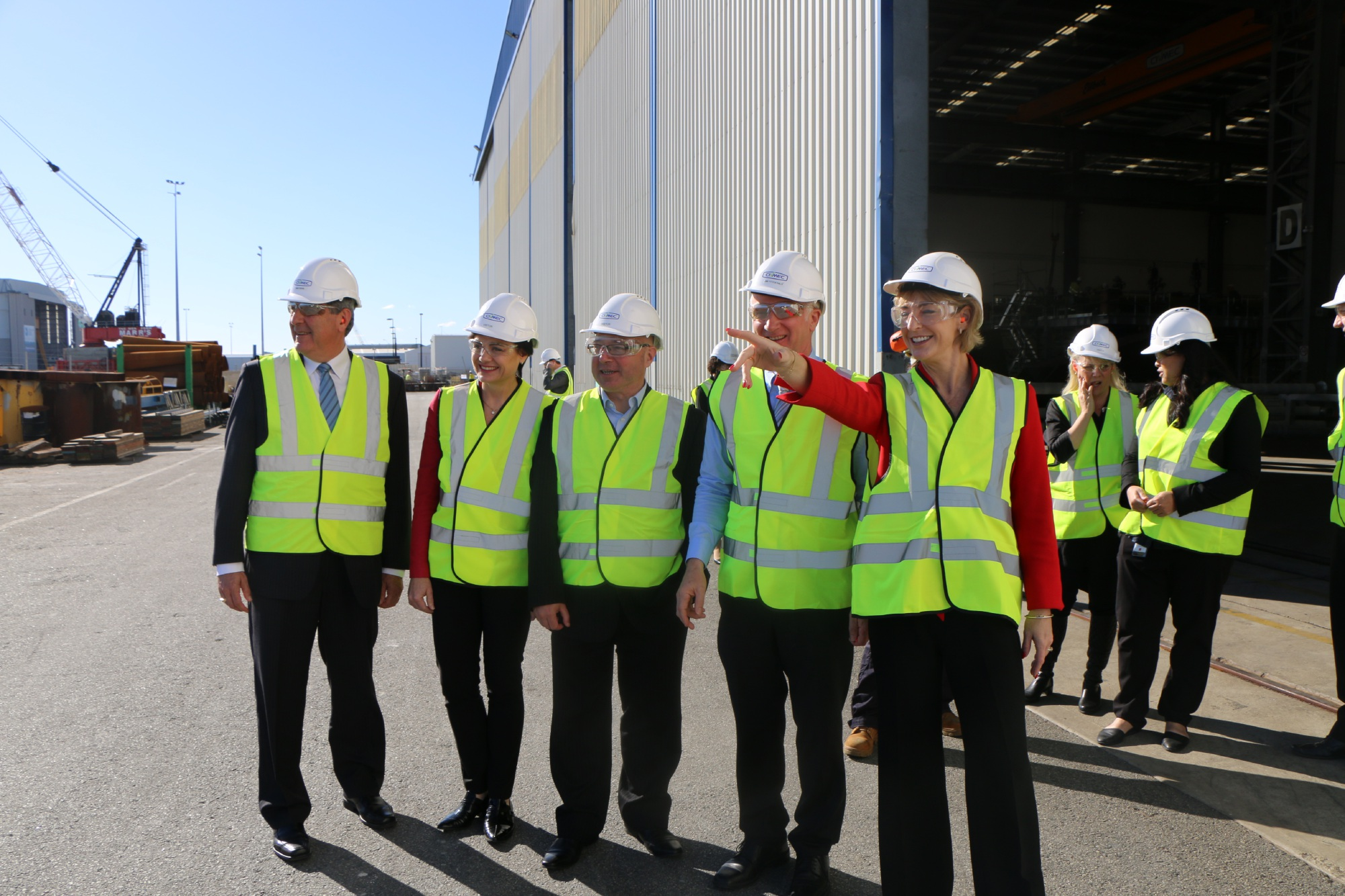 Civmec general manager Michael Deeks, Liberal candidate for Fremantle Pierrette Kelly, Liberal candidate for Brand Craig Buchanan, Civmec executive chairman James Fitzgerald and Senator Michaelia Cash on a visit to the Australian Marine Complex in Henderson last month.