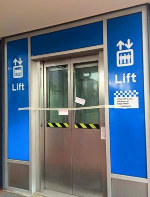 The Bassendean train station lift out of order earlier this year. Picture: Dave Kelly/Facebook