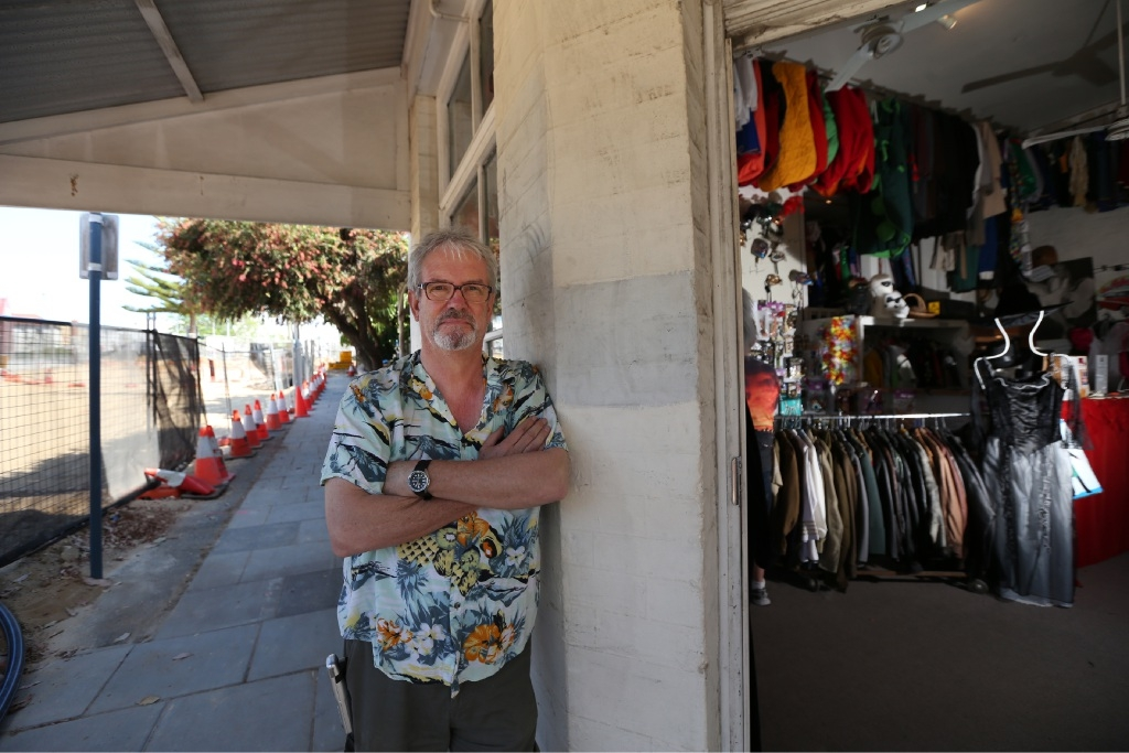 Nigel Devenport outside his costume shop in Claremont. Photo: Andrew Ritchie