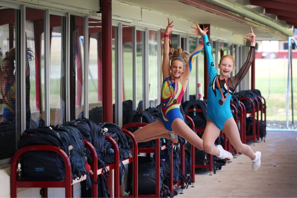 Kaila Bogdanov and Elissa Campbell won gold at the recent National Aerobic Championships.