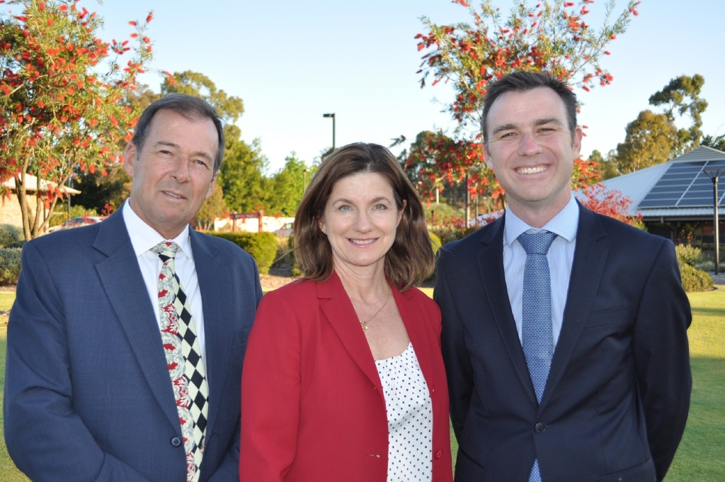 New Shire President David Lavell with fellow South ward representatives Trish Cook and James Martin.