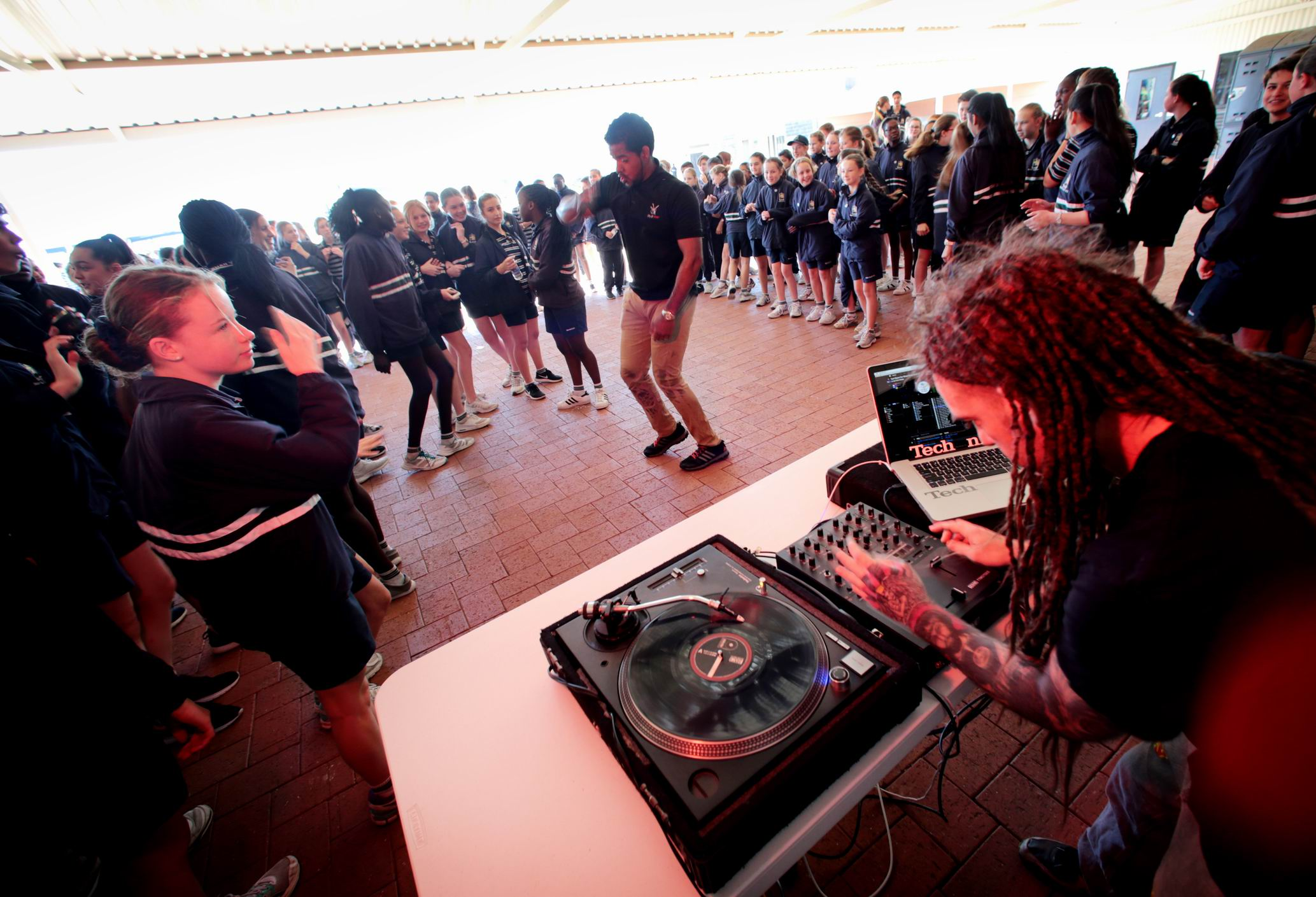 DJ Munch entertains the students.  Picture: David Baylis
