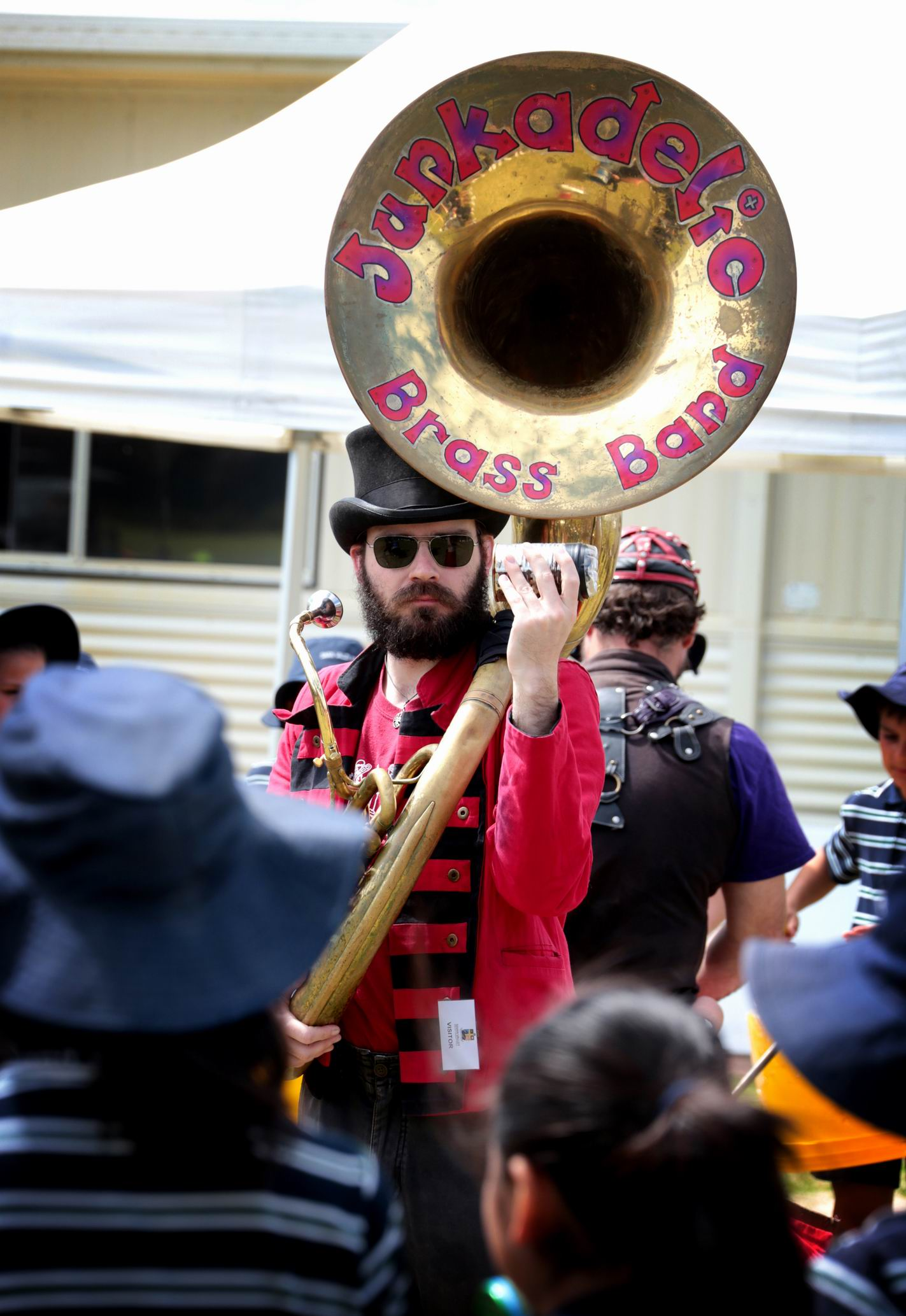 Members of the Junkadelic Brass Band keep the students entertained.  Picture: David Baylis