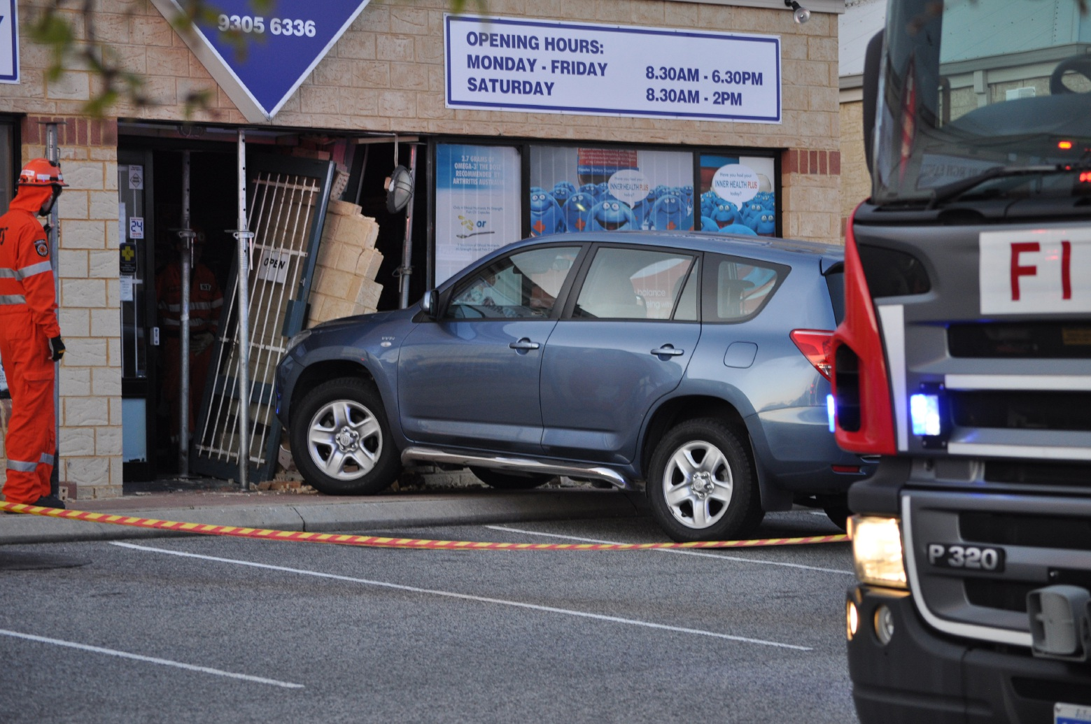 A Toyota Rav 4 crashed into a Kinross pharmacy on Monday.