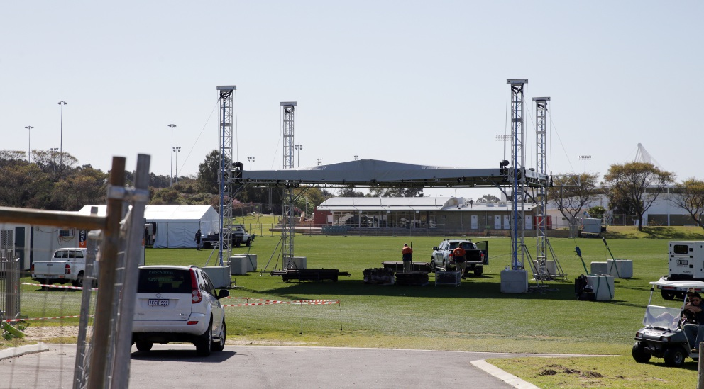 Crews are busy setting up for the Listen Out Festival.