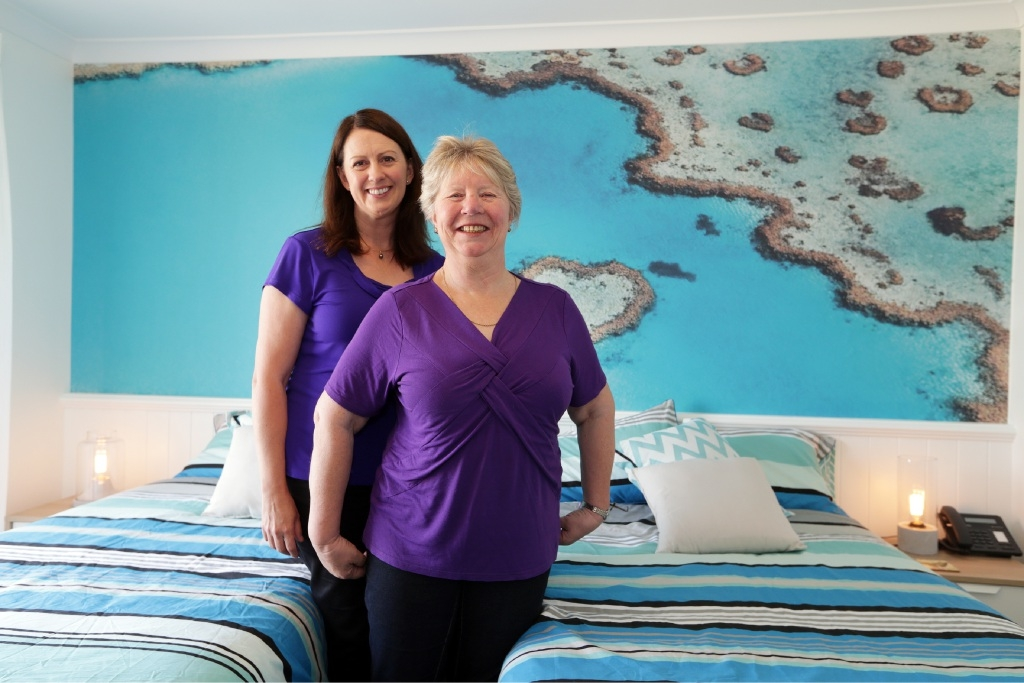 Aileen Eiszele, of Genesis Cancer Care, with Jo Holding at the Genesis Cancer Care Lodge. Picture: Martin Kennealey        www.communitypix.com.au   d445775