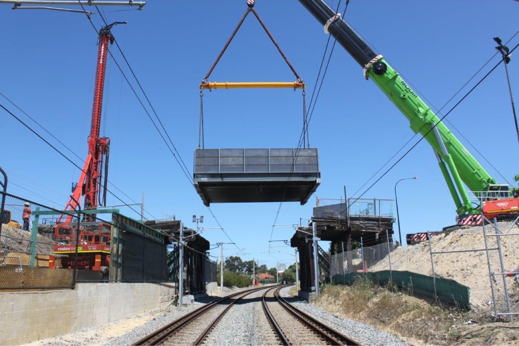 The 105-year-old bridge was lifted out of place. Picture: Mick Slocombe