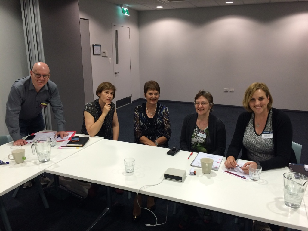 Butler Toastmasters members Peter Harrison, Helen Axton, Laura Vivien Brandt, Almarie Meyer and Suzanne Clanton at the club's first meeting.