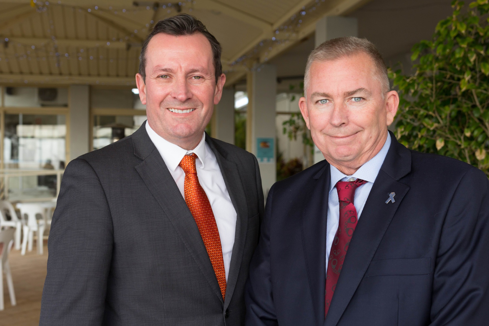 Opposition leader Mark McGowan and WA Labor candidate for Burns Beach Mark Folkard.