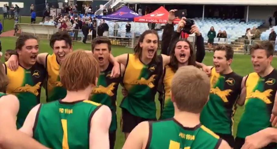 The Year 12 boys enjoy their victory.