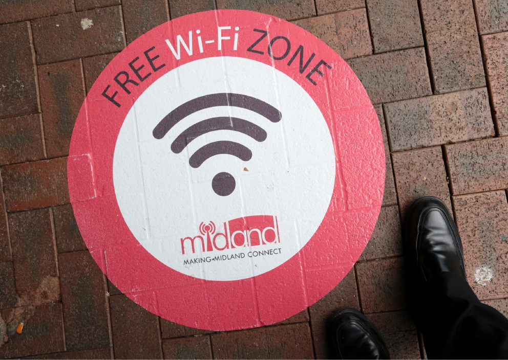 THE City of Swan is spreading the message of its free Wi-Fi service in the Midland CBD. Stickers have been put down around the streets of the city centre to encourage locals and visitors to take advantage of it.  The City is one of 70 Australian communities in the Federal Government's Digital Enterprise Program, designed to help communities maximise digital opportunities enabled by the national broadband network.