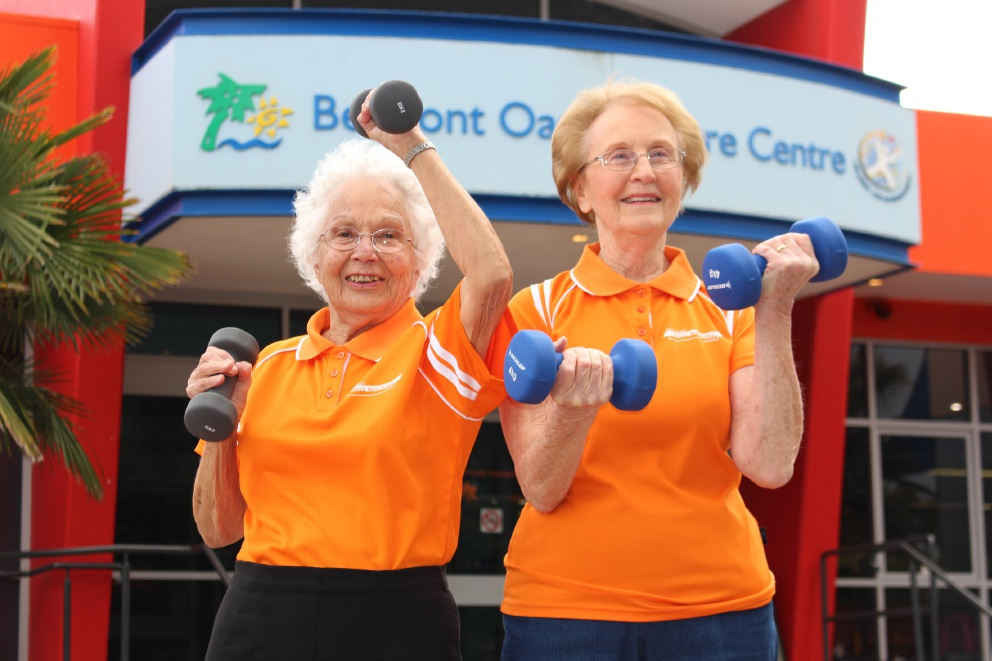 Gwen Davies and Audrey Whiteside are looking for to lifting some weights when the Living Longer, Living Stronger program starts at the Belmont Oasis.