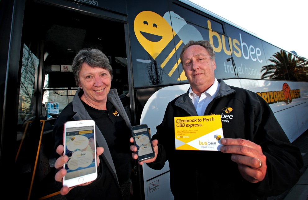 Anne and John Hurley, of Ballajura, have developed an app and bus service that will take Ellenbrook residents all the way into the city in style. Picture: David Baylis www.communitypix.com.au   d459265