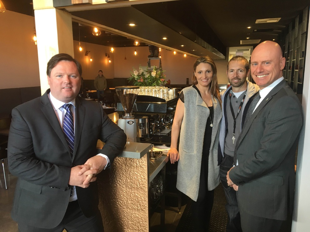 Member for Forrestfield Nathan Morton and Small Business Minister Sean L'Estrange with Linzi and Matt Moore, the owners of Quills in Wattle Grove.