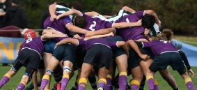 A scrum between Rockingham (purple) and Wanneroo. Picture: Andrew Mayberry