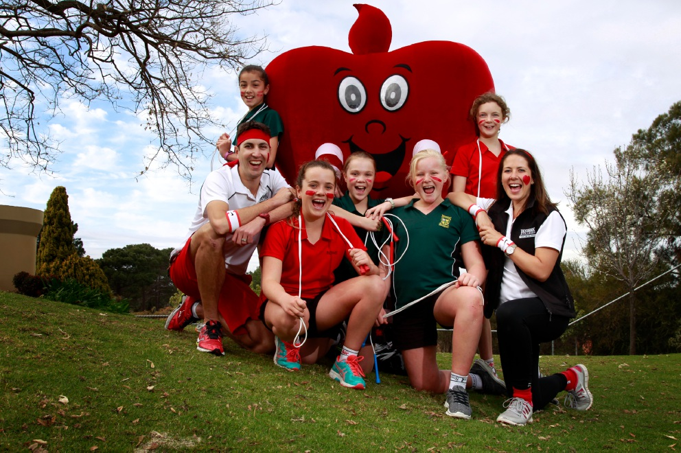 Penhros College physical education coordinator Kenrick Armitage and physical education teacher Rachael Noble with students Annika Larment (11), left, Charlotte Gibbons (12), Arabella Edgar (12), Charlotte Esze (11) and Leah Crawley (12) – all taking part in Jump Rope for Heart WA. Picture: Marie Nirme.