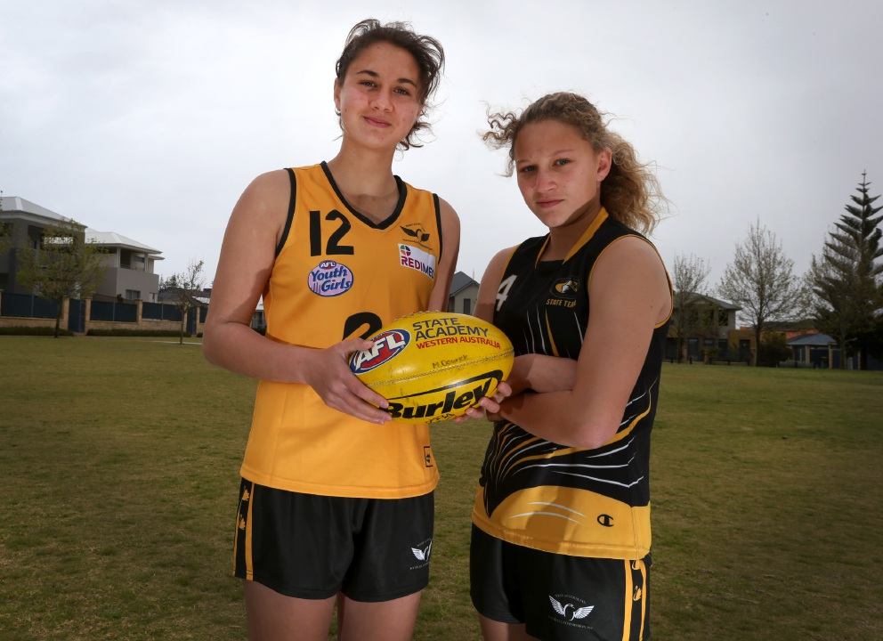 McKenzie Dowrick (16) and sister Abbey (13) play in the WA Football Commission Youth Girls competition. Picture: Matt Jelonek d459776
