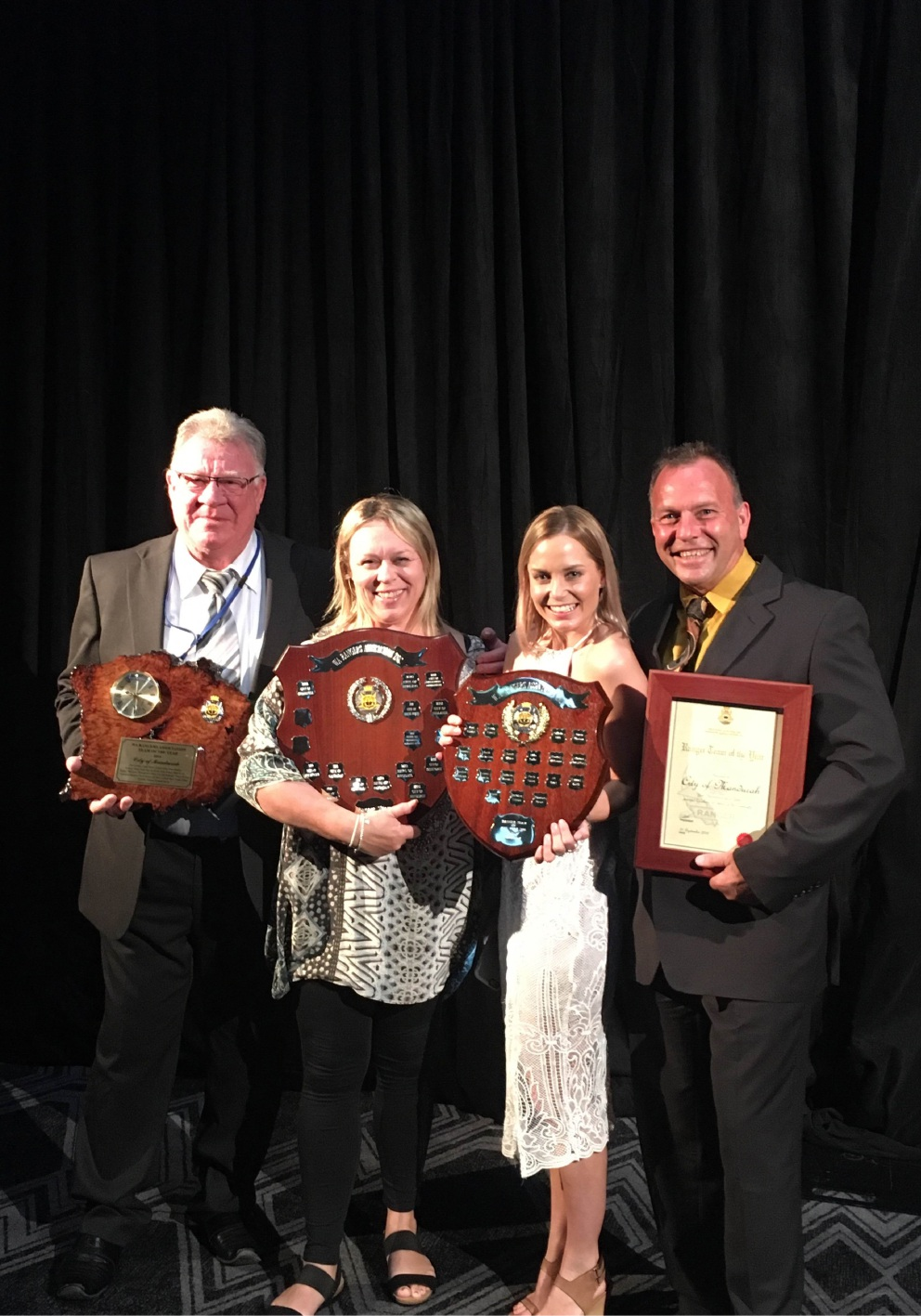 Team of the year Paul Kimber, Rebecca Webb, Celeste Mills and Brad Wilkinson.