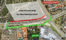 Footpath closed for Joondalup Drive works