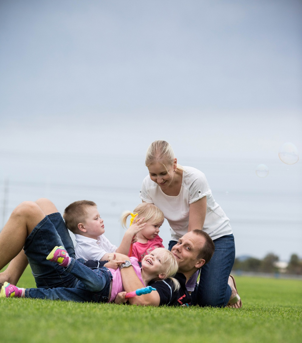 Ethan Davies, with twin sisters Jessica and Charlotte, dad Shannon and his mum Christie-Lee.