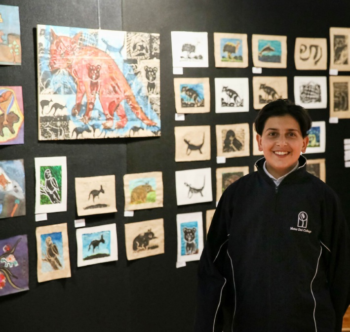 Year 7 student Luke Elias at the art and design showcase.