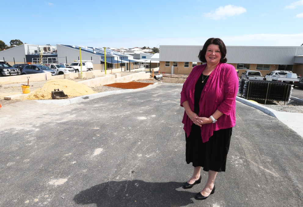 Principal Karen Giacomucci at the new primary school site. Picture: Matt Jelonek                                                                  www.communitypix.com.au                                             d459293