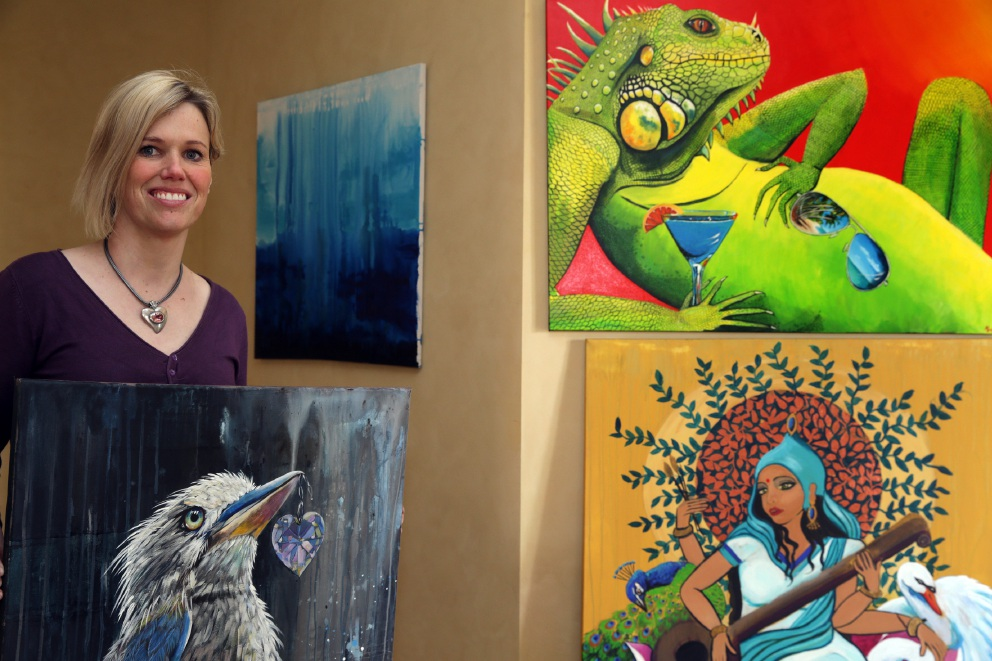 Karen Petrovski, of Kingsley, with some of her art. Picture: Martin Kennealey                                                  www.communitypix.com.au   d459911