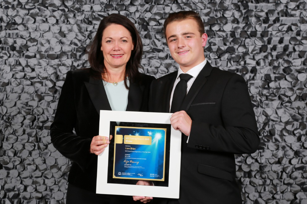Award winner Liam Brien with Training and Workforce Development Minister Liza Harvey.