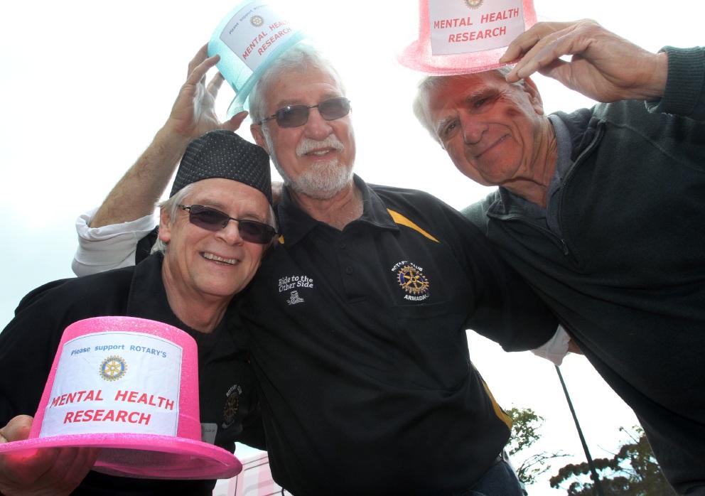 Rotarians Peter Warren, Barry Porter and Joe Kalajzich wear their hats. Picture: Robin Kornetd460215