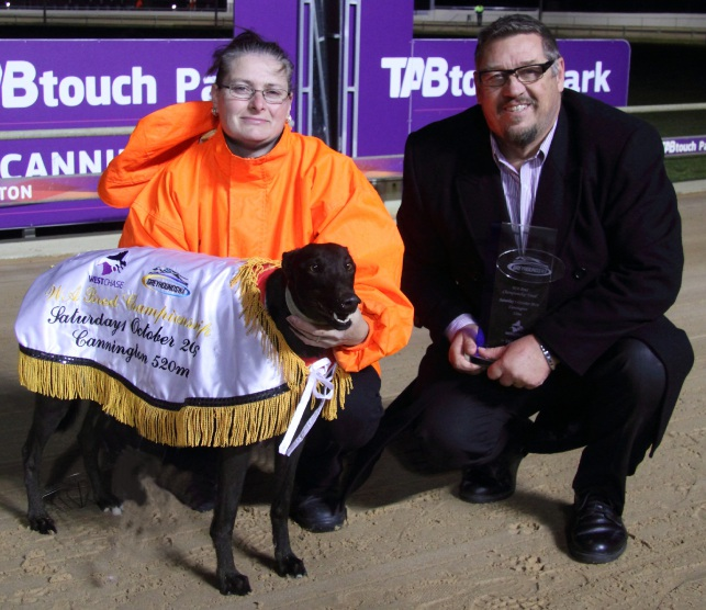 Sue Peterson (handler) with Acting Greyhounds WA chief executive Barry Hamilton and Penny Monelli.