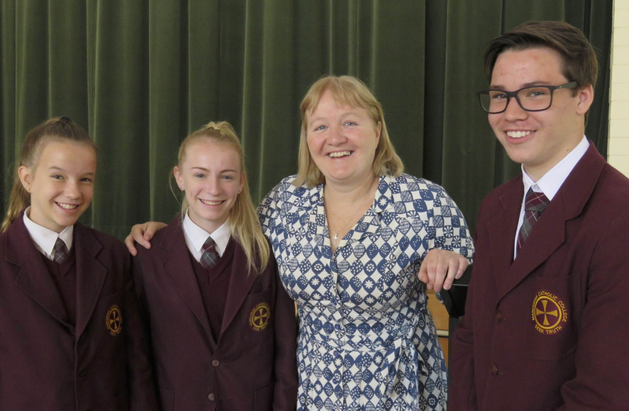 Charity worker Moira Kelly speaks to Mandurah Catholic College students