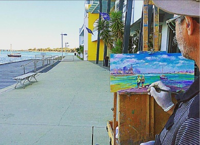 Jos Courfreu paints the traffic bridge from the Peninsula Hotel.
