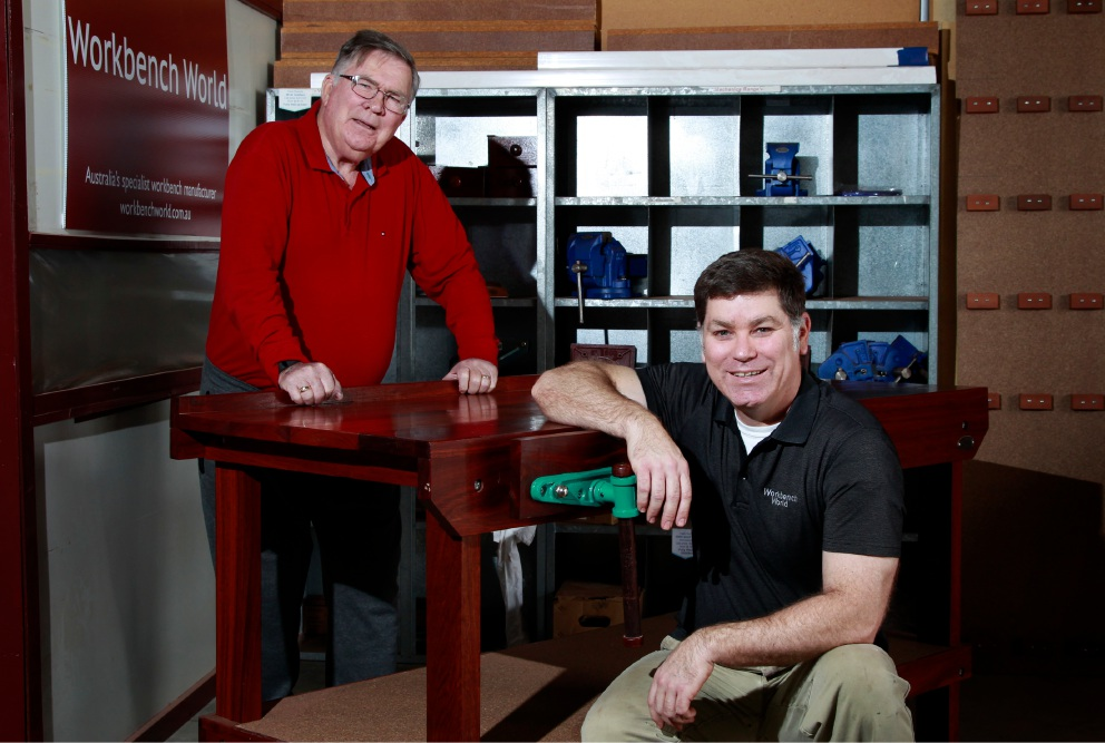 Mike Manning (chair of Cockburn Central Men's Shed) and James Shadbolt (owner Workbench World). Picture: Marie Nirme