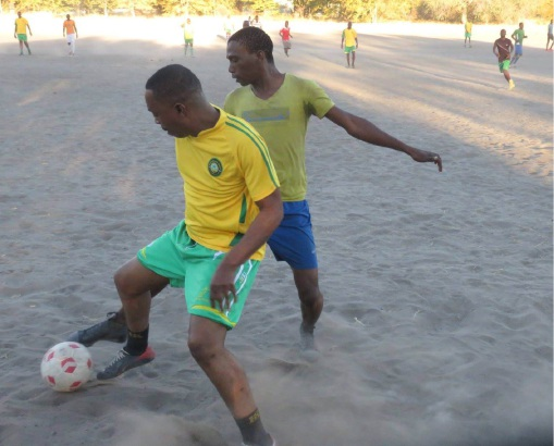 Billy Boatametse Mogojwa competes in Botswana against a team in need of uniforms.