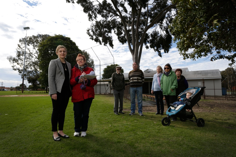 Amber-Jade Sanderson and Joy Nichols with fellow residents. They are protesting against a proposed telecommunication tower at Crimea Reserve. Picture: Andrew Ritchie